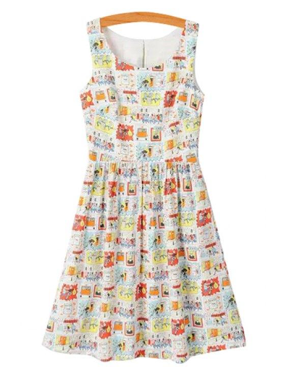 latest Scoop Neck Cartoon Print Sleeveless Dress - COLORMIX S