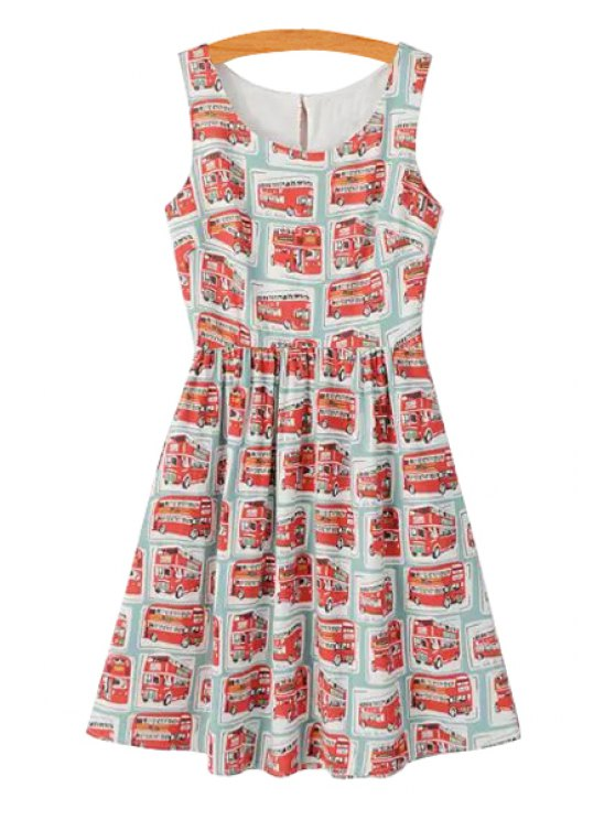 sale Scoop Neck Red Bus Print Sleeveless Dress - COLORMIX S