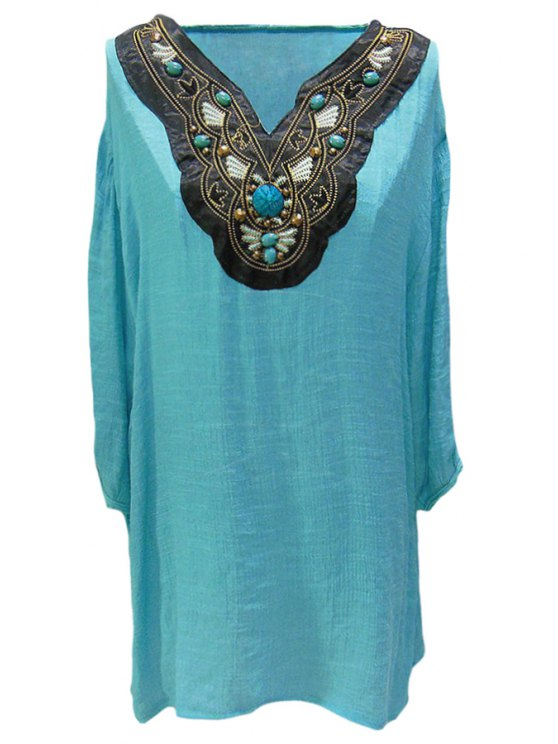 women Beading Embroidery 3/4 Sleeve Blouse - PEA GREEN L