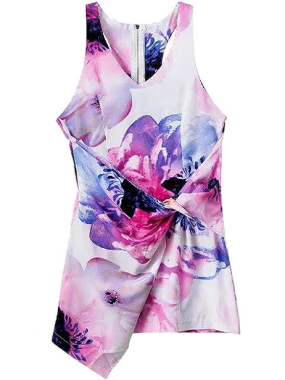 new Flower Print V-Neck Sleeveless Dress - COLORMIX S