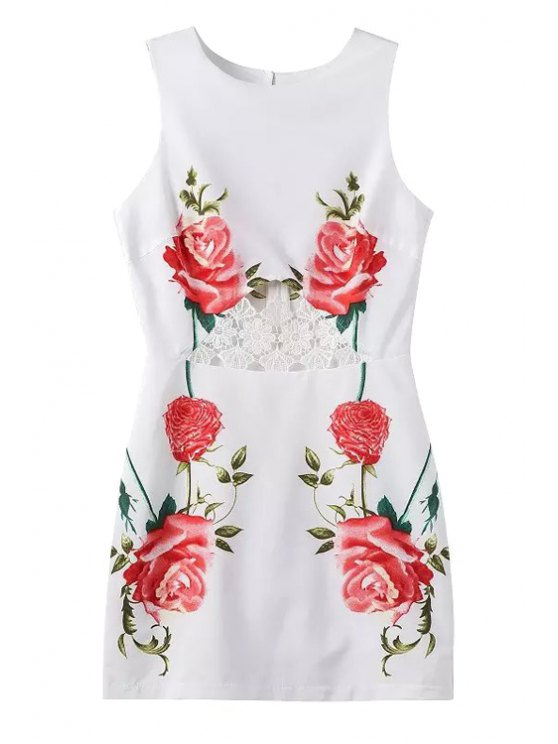 fashion Red Floral Print Lace Splicing Sleeveless Dress - WHITE S