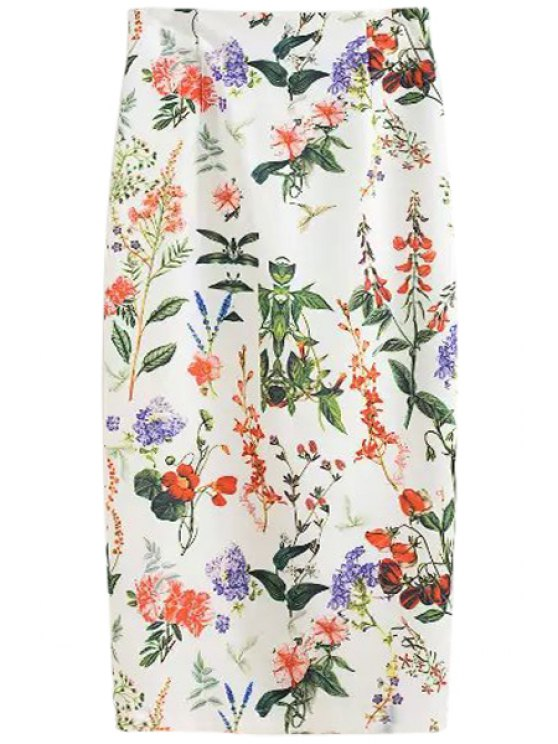 shop Floral Print High Waisted Pencil Skirt - WHITE S