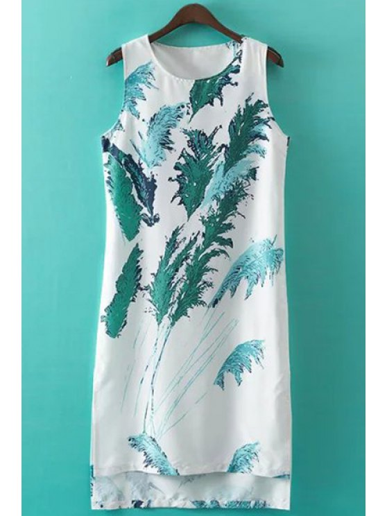 buy Reed Print Jewel Neck Sundress - WHITE S