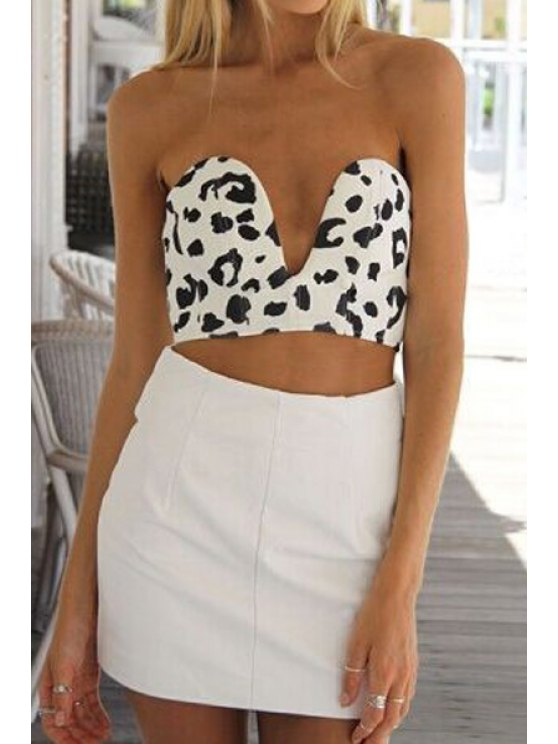 fashion Strapless Leopard Pattern Tube Top - WHITE AND BLACK S