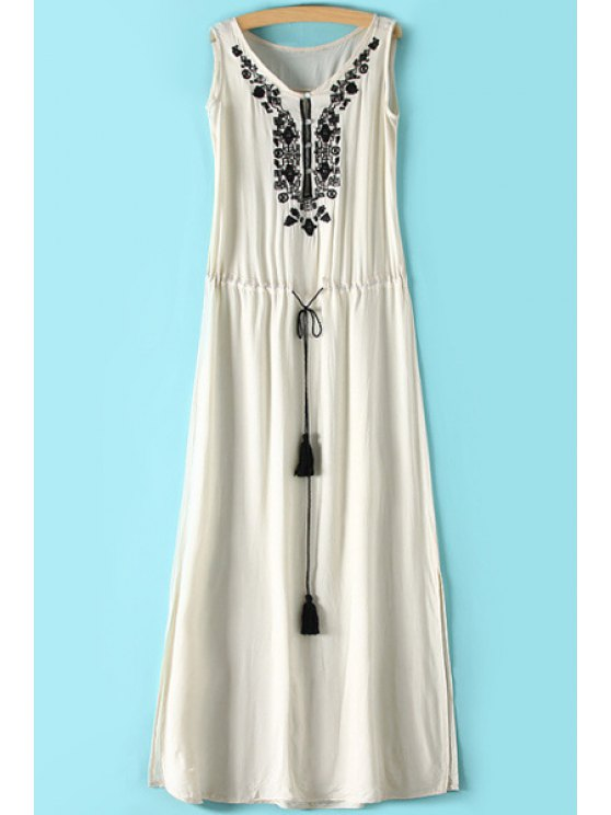 latest Embroidery V-Neck Sleeveless Maxi Dress - OFF-WHITE S