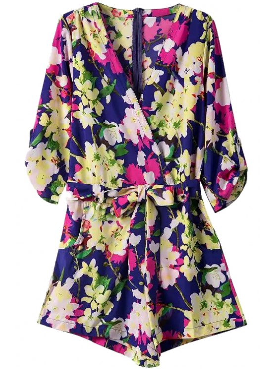 women Plunging Neck Flower Print Romper - AS THE PICTURE S
