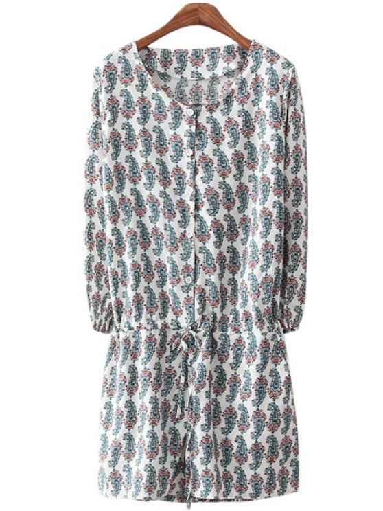 hot Paisley Print Long Sleeve Romper - WHITE S