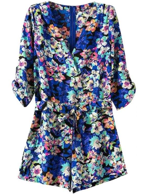 trendy Flower Print V Neck 3/4 Sleeve Romper - BLUE S