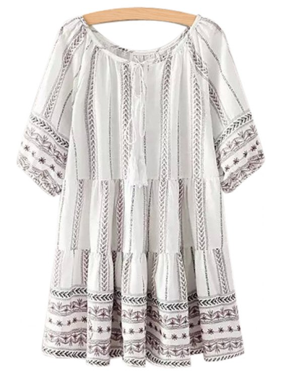 unique Print Half Sleeve Linen Dress - AS THE PICTURE ONE SIZE(FIT SIZE XS TO M)