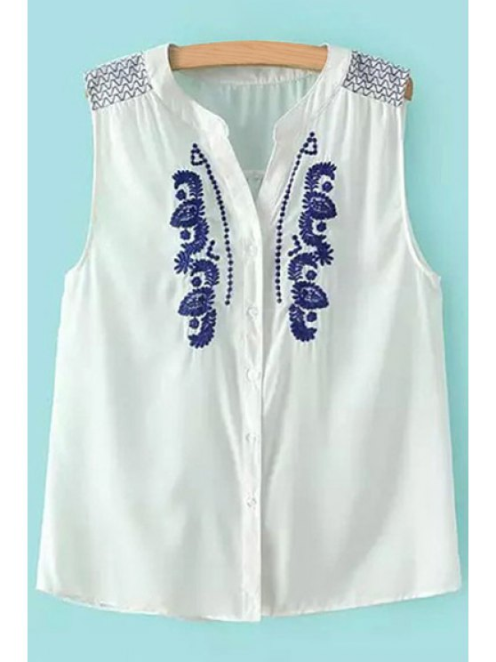 online Embroidery Sleeveless V-Neck Blouse - WHITE S