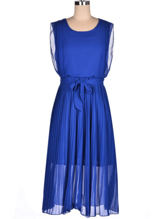 online Blue Pleated Sleeveless Dress - BLUE S