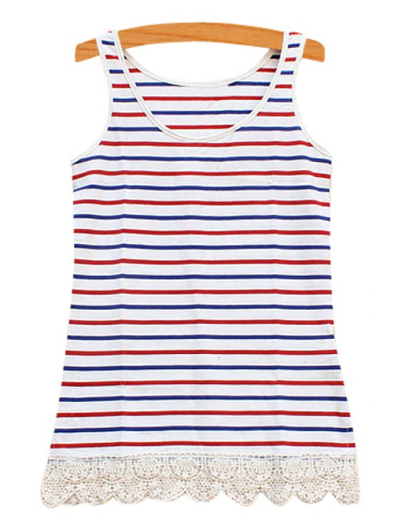 ladies All-Match Striped  Lace Spliced Tank Top - BLUE AND RED ONE SIZE(FIT SIZE XS TO M)