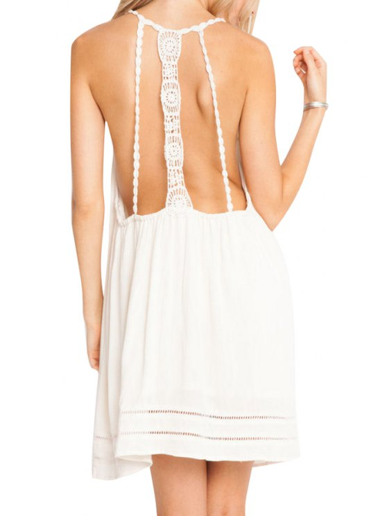 hot Backless Lace Splicing Solid Color Sleeveless Dress - WHITE S
