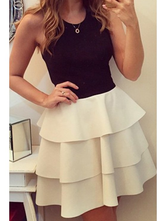 shop Color Block Layered Sleeveless Dress - WHITE AND BLACK S