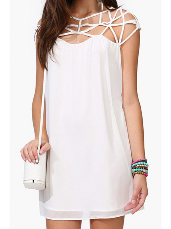 sale Hollow Spliced Short Sleeve Dress - WHITE S