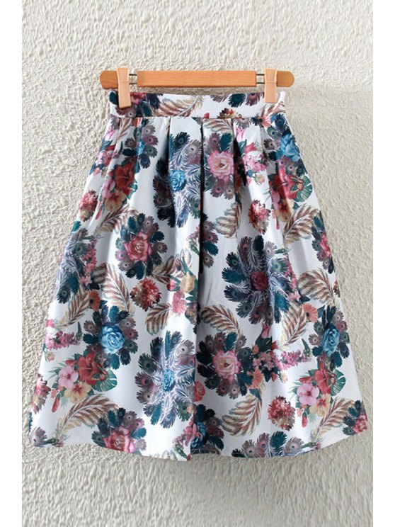 chic Peacock Print A-Line Skirt - WHITE ONE SIZE(FIT SIZE XS TO M)