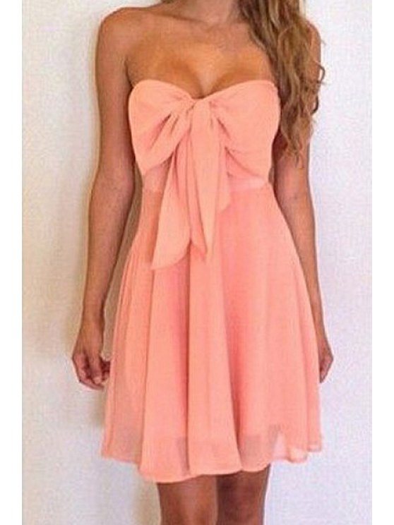 buy Solid Color Strapless Bowknot Dress - PINK S