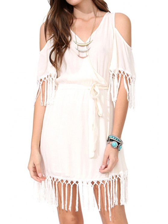 women Off-The-Shoulder Fringe Splicing Short Sleeve Dress - OFF-WHITE S