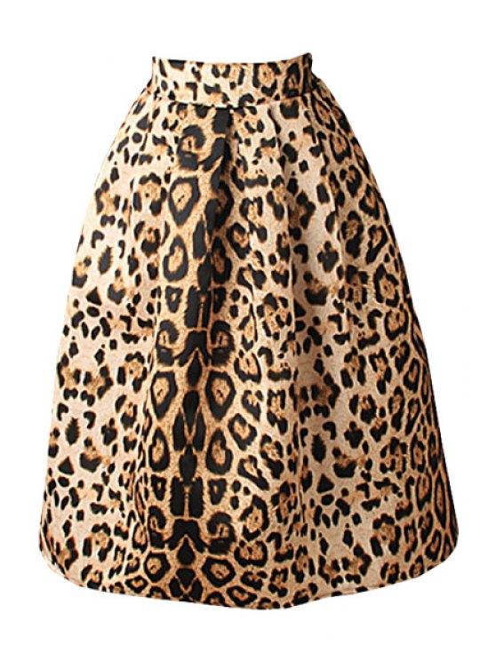 sale Leopard Print High Waisted A-Line Skirt - LEOPARD S