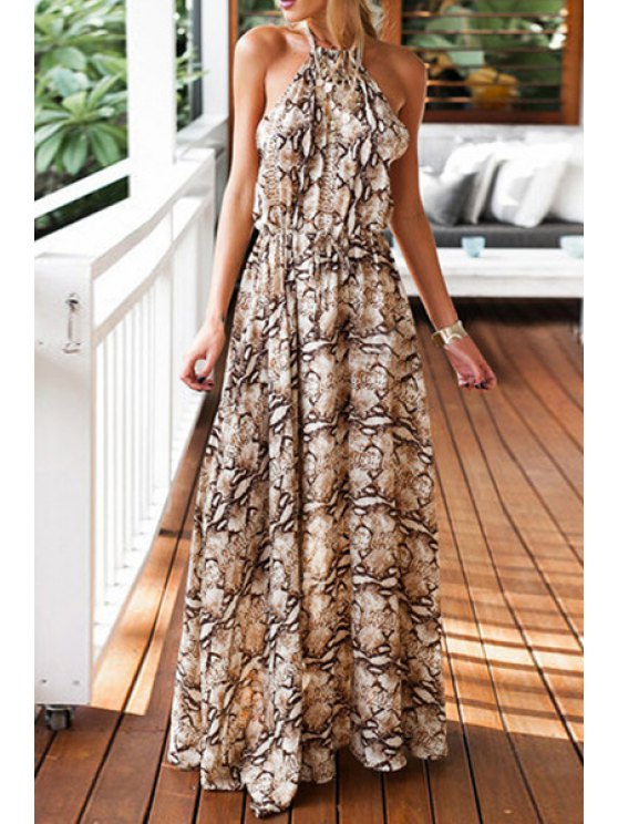 best Tie-Up Print High Slit Maxi Dress - COLORMIX S