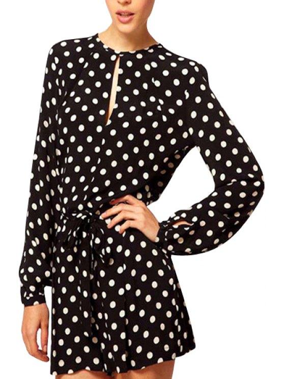 shop Polka Dot Tie-Up Slit Long Sleeve Romper - BLACK M