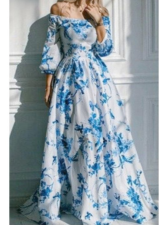 best Slash Neck Floral Print 3/4 Sleeve Maxi Dress - BLUE AND WHITE S