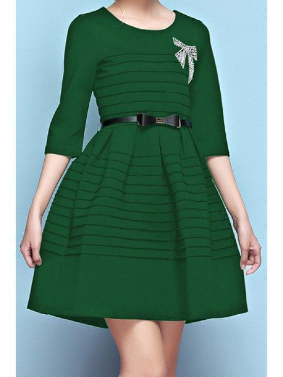 best Solid Color Rhinestoned Bowknot Belt Half Sleeve Dress - GREEN S