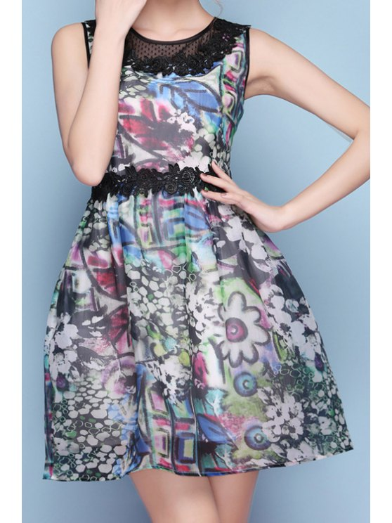 outfits Floral Print Lace Splicing A-Line Dress - BLUE S