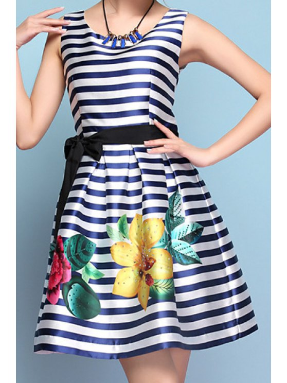 trendy Floral Print Stripe Tie-Up Sleeveless Dress - BLUE S