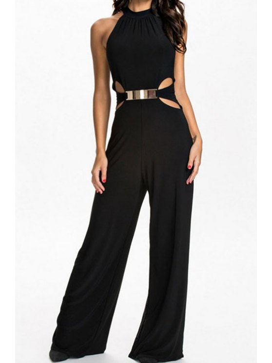 outfit Black Sleeveless Cut Out Jumpsuit - BLACK S