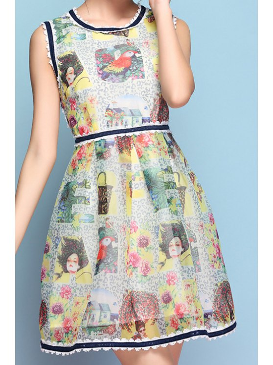 outfits Floral Figure Print Lace Splicing Sleeveless Dress - LIGHT GREEN S