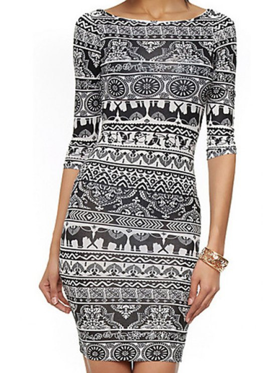 outfit Ethnic Print Half Sleeve Bodycon Dress - AS THE PICTURE S