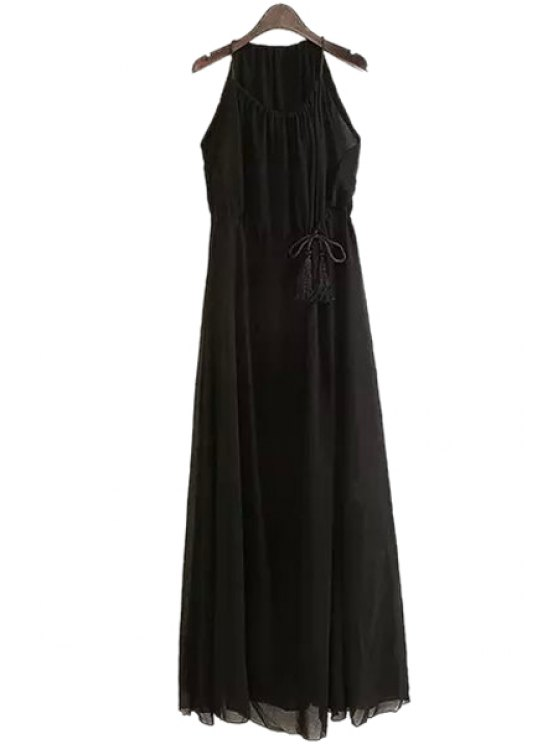 outfit Spaghetti Strap Solid Color Drawstring Chiffon Dress - BLACK S