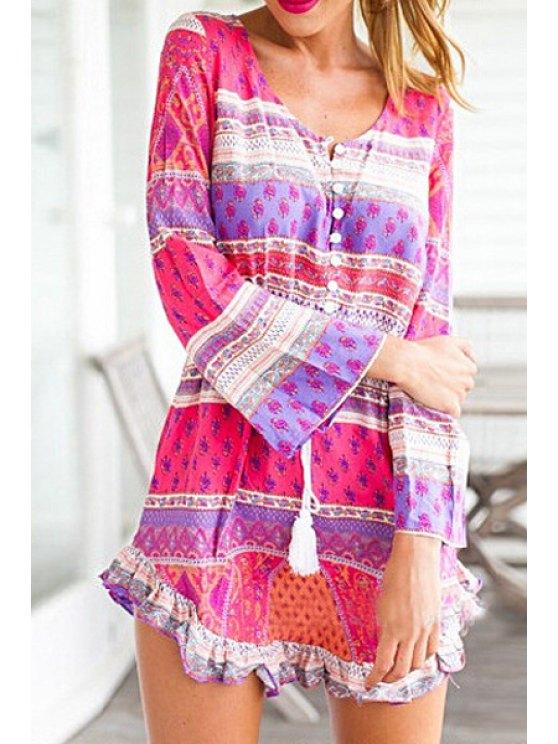 shops Ethnic Print Ruffled Long Sleeve Dress - ROSE S