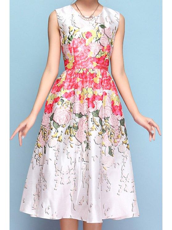 sale Floral Print A-Line Sleeveless Midi Dress - WHITE S