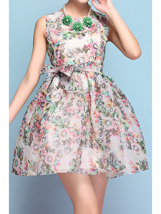 buy Jewel Neck Tiny Floral Print Tie-Up Dress - AS THE PICTURE XL