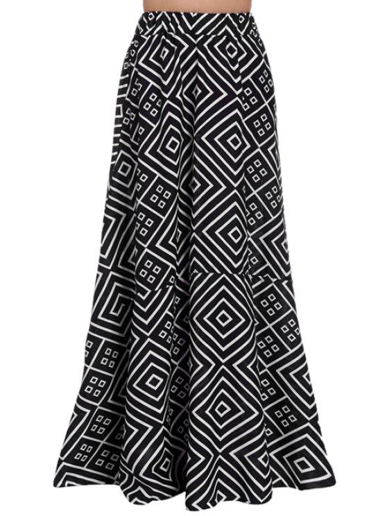 womens Argyle Print High Waisted Skirt - WHITE AND BLACK S