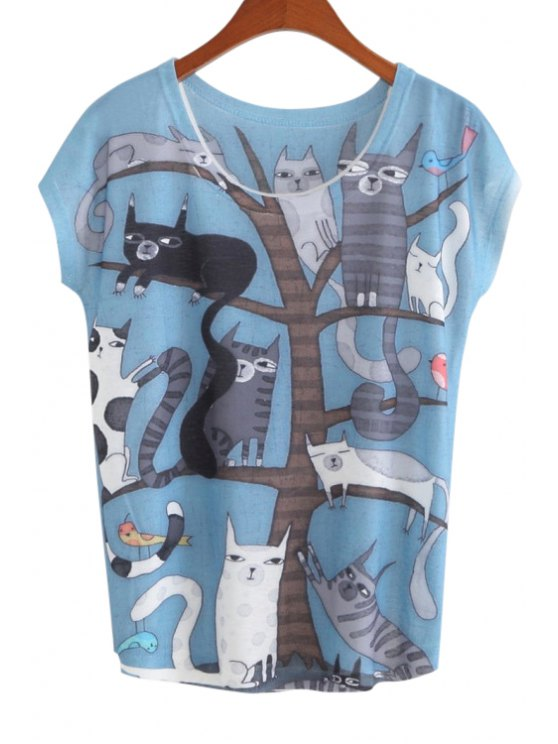 sale Cartoon Animals Print Short Sleeve T-Shirt - BLUE ONE SIZE(FIT SIZE XS TO M)