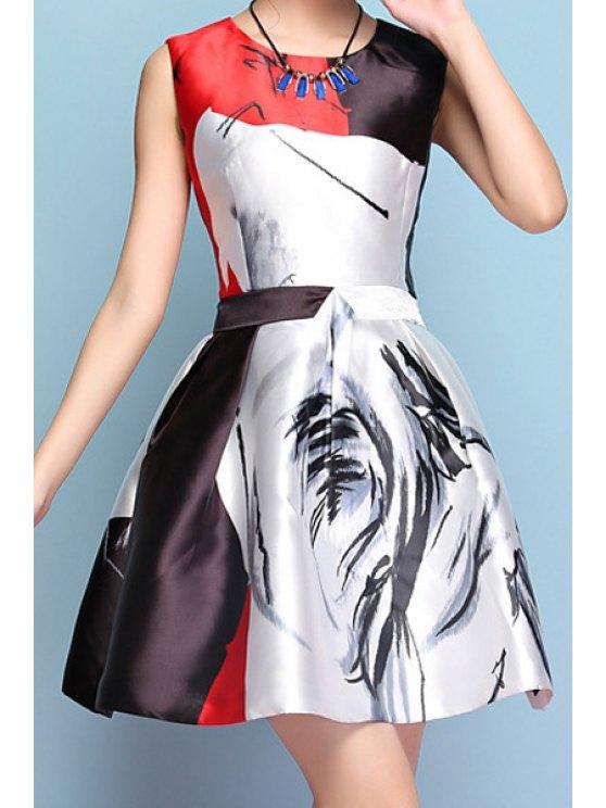 buy Jewel Neck Color Block Print Sleeveless Dress - COLORMIX S