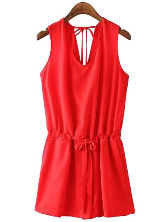 online Tie-Up Solid Color Sleeveless Romper - RED S