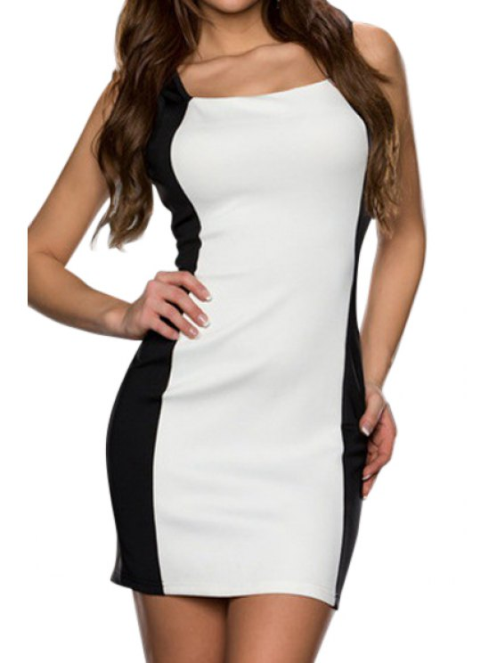 shop Color Block Bodycon Sleeveless Dress - WHITE M