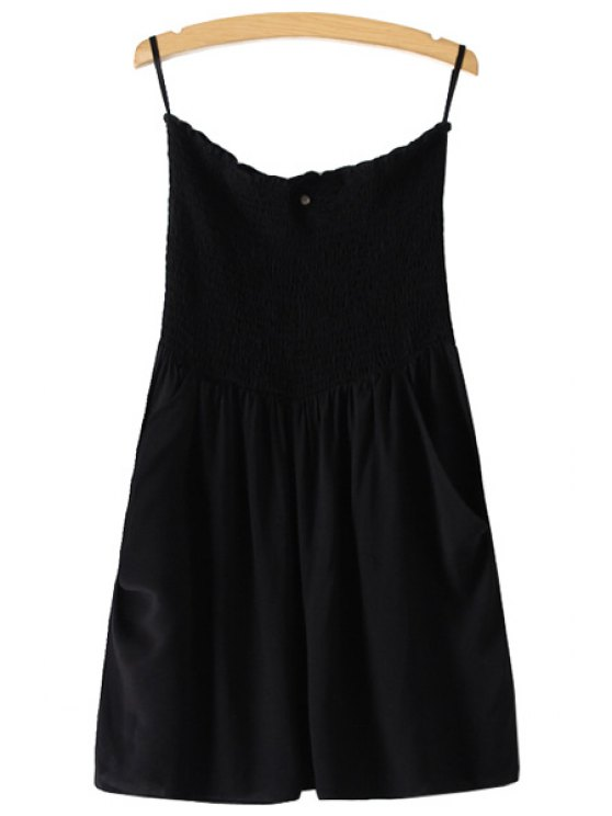 sale Strapless Solid Color Sleeveless Romper - BLACK XS