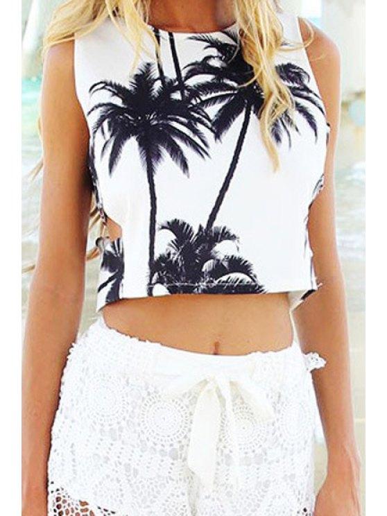 best Coconut Tree Print Sleeveless Crop Top - WHITE S
