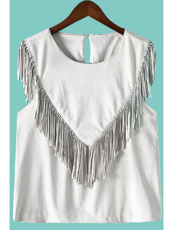 womens V Pattern Fringe Solid Color Tank Top - SILVER S