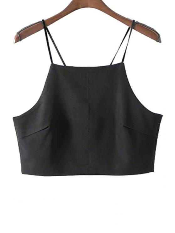 best Spaghetti Strap Solid Color Crop Top - BLACK S