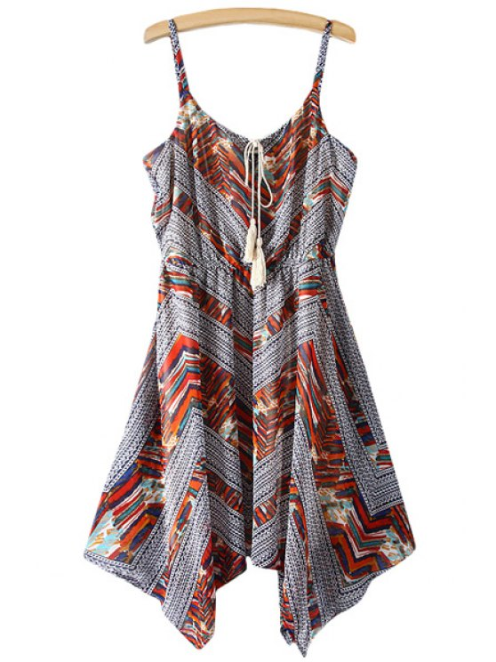 outfits Spaghetti Strap Color Block Stripe Asymmetrical Dress - COLORMIX S
