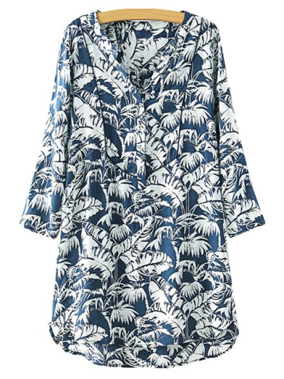 chic Feather Print High Low Long Sleeve Dress - BLUE AND WHITE S