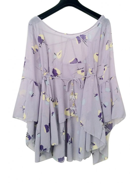 shop Floral Chiffon Flare Sleeve Blouse - PURPLE ONE SIZE(FIT SIZE XS TO M)