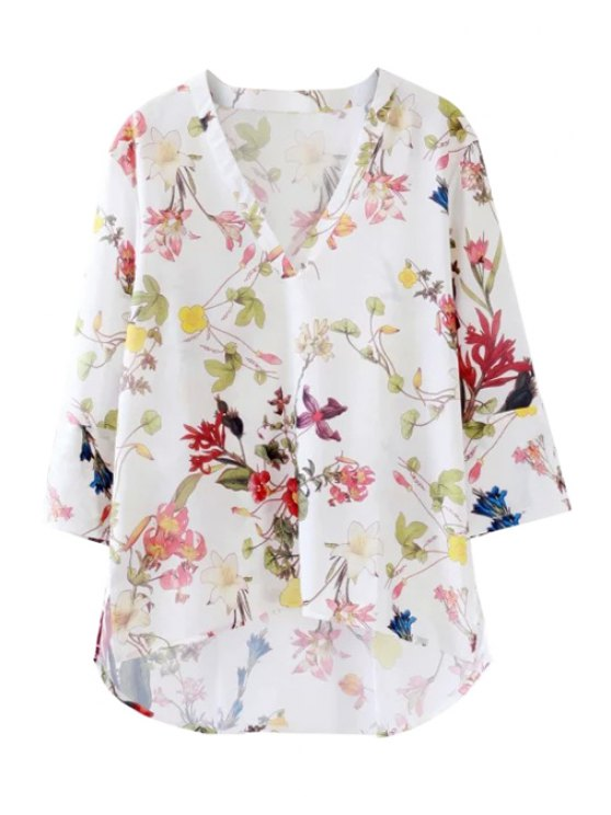 buy Plunging Neck Long Sleeve Flower Print Blouse - WHITE S