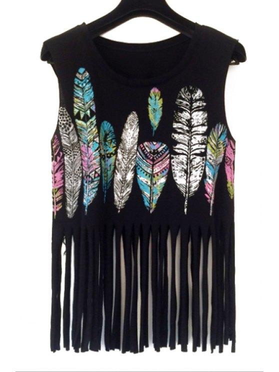 outfit Feather Print Tank Top - BLACK ONE SIZE(FIT SIZE XS TO M)